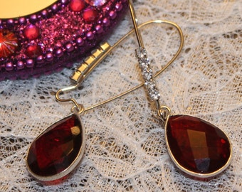 Natural Garnet Stone Rhinestones  Silver Plated Dangle Earrings
