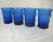 Vintage COBALT TUMBLERS Set/4 Blue DEPRESSION Glass tiny Bubbles Barware