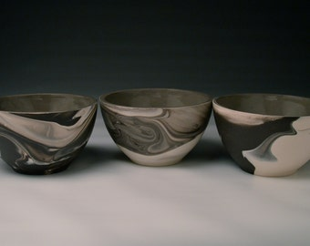 Ceramic Bowl/ Porcelain Serving Bowl - Marbled Black and White Slip Cast Porcelain. Modern Pottery