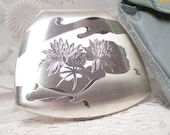 Vintage Elgin American Silver Water Lilly Powder Compact Gorgeous