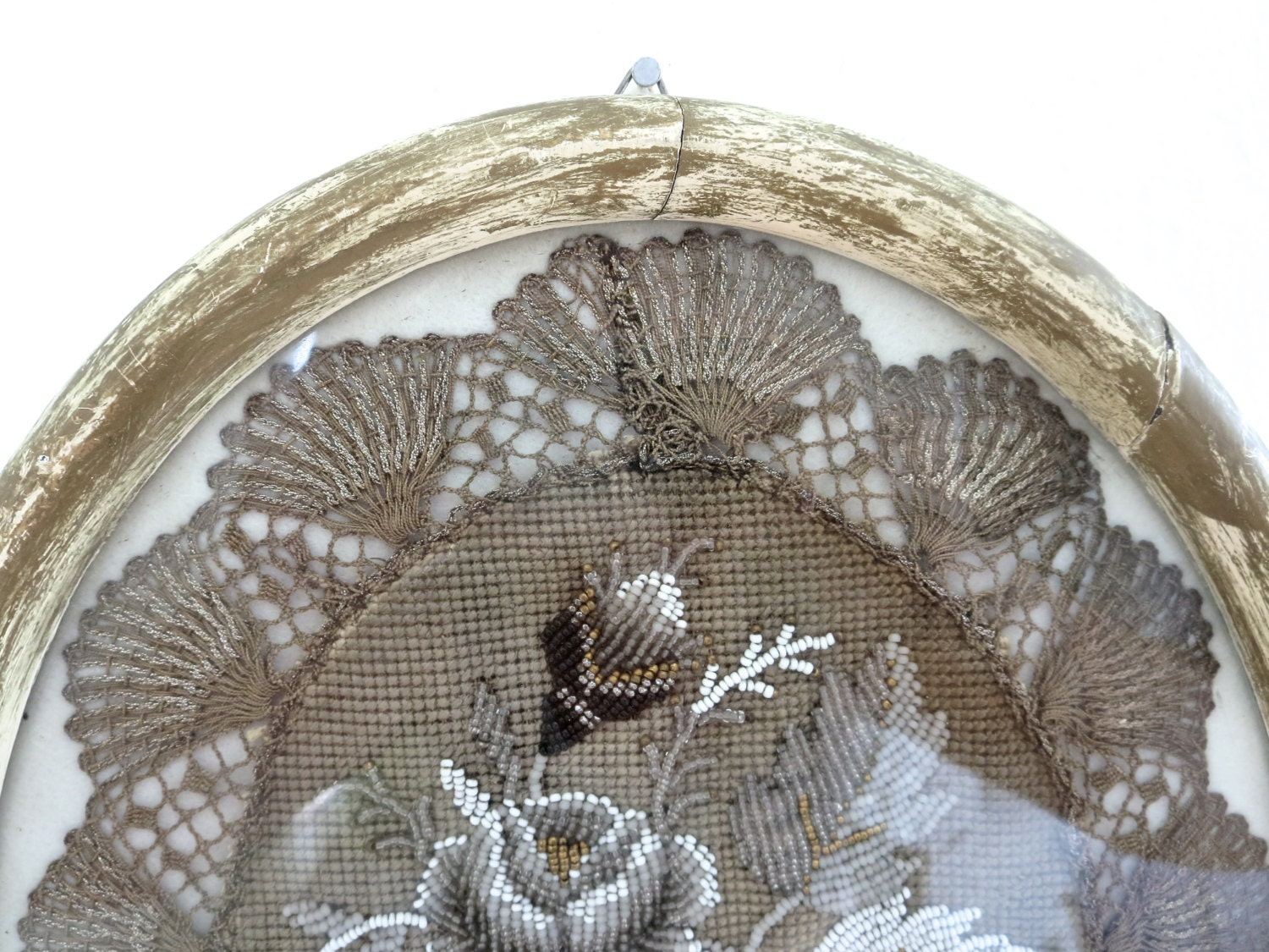 Antique lace bead embroidery oval frame roses by bleuets