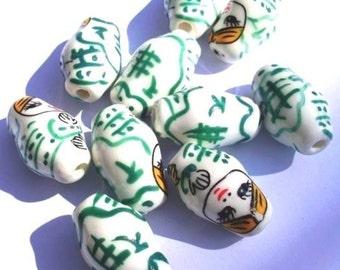 10 Handmade PORCELAIN Beads 22x13x13mm - COD9515