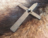 Hand Forged Cross Pendant, Blacksmith made, Steel and Brass