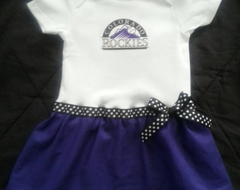 Colorado Rockies inspired baby girl outfit