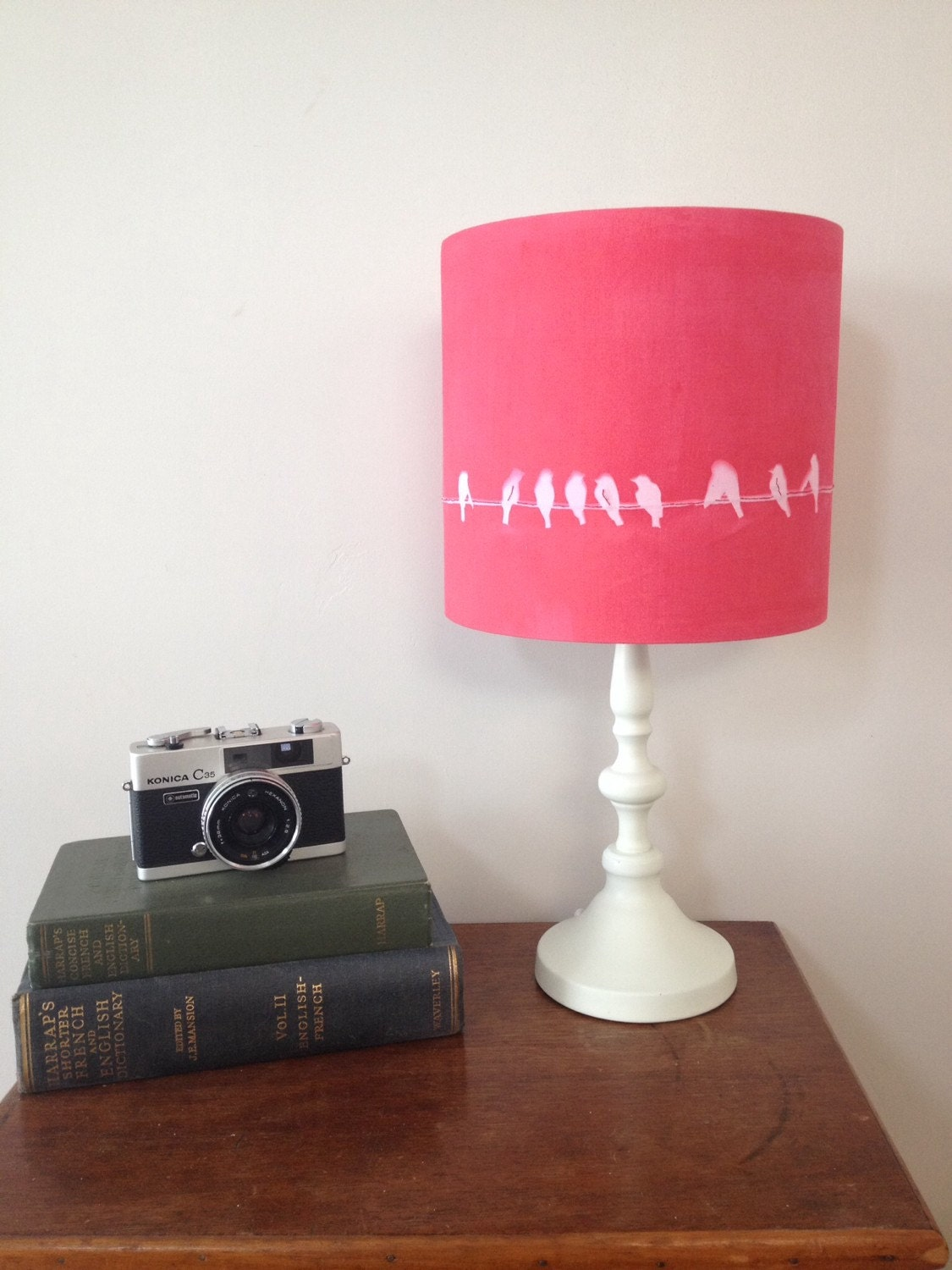 bird lamp shade drum lampshade red lamp shade decor by latelier2. Black Bedroom Furniture Sets. Home Design Ideas