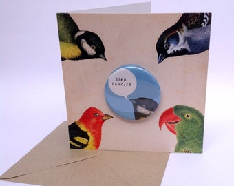 SALE - SEL - Bird Fancier Large  Blue Badge Blank Eco Friendly Art Square Greeting Card