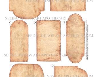 Old Paper Labels - Set of Seven - Various Shapes - Digital Download