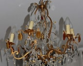 antique french chandelier amber crystal drop/white cristal drops gilt bronze