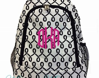 SALE Personalized Swirls Backpack - Girls Canvas Booksack Black & White with Geometric Pattern Backpack Monogrammed FREE