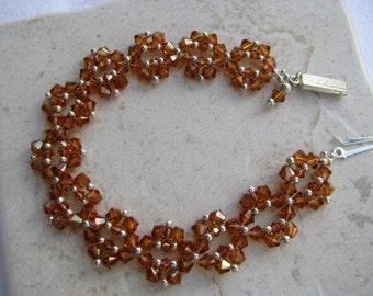 Copper Beadwoven Bracelet, Evening, Wedding, Crystal, Swarovski Bicones, Silver Closure with Dangle