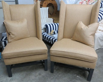 Hickory Chair Wing Chairs in Herringbone Linen - Totally Refurbished
