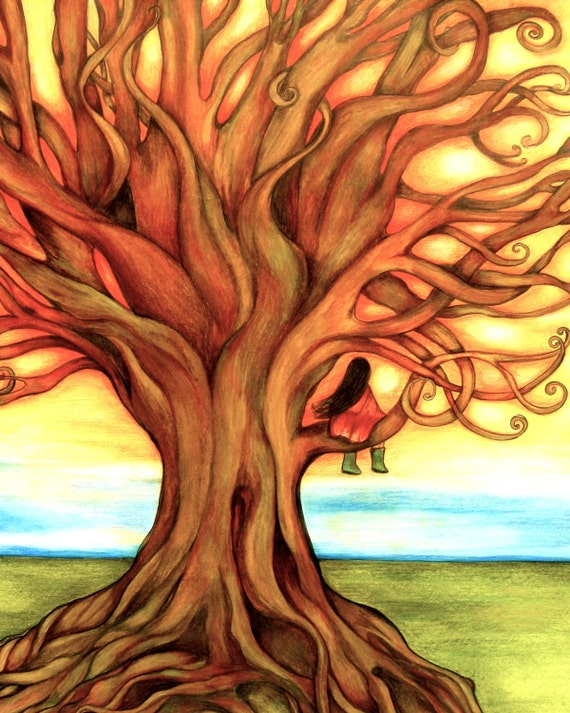 The firy tree art print children's decor