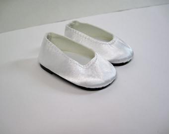 White Satin Flats for American Girl Doll