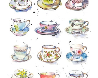 Art Print - Vintage Teacups - Kitchen Art - Illustration - China - from Original Ink and Watercolour Illustration