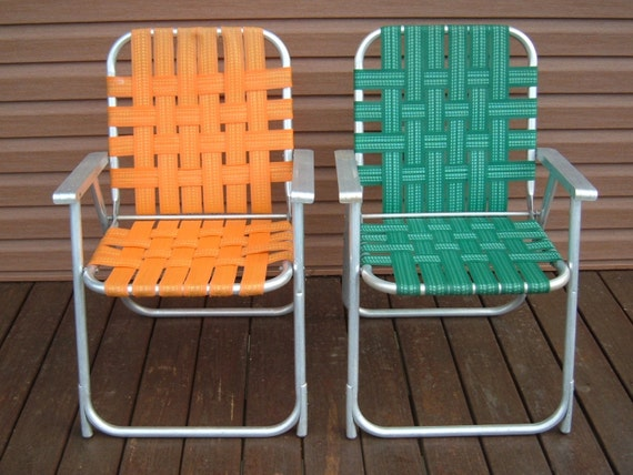 Vintage aluminum lawn chairs with green and orange webbing for Lawn chair webbing