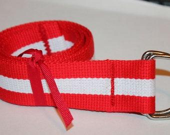 """Red and White Belt Striped Adult Belt 1.5"""" Belt Red Striped Web Belt Red Stripe Belt White Striped Belt Striped Canvas Belt Nautical D Ring"""