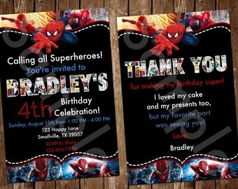 Spiderman Birthday Invitation (SM03)