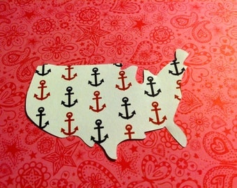 12 pcs white USA paper die cut with small red and blue  ANCHORS hand punched 3 in x 2 in patriotic, scrapbooking. Can be made in any  color.