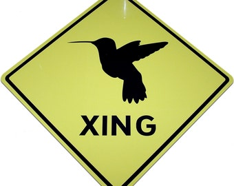 """Hummingbird Crossing Caution Sign - Printed on a 12"""" Wide Diamond Shaped Sign"""
