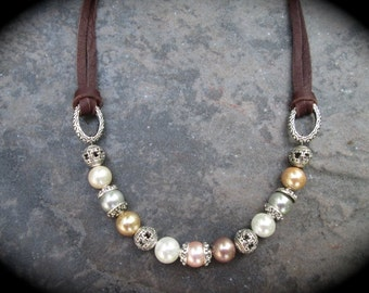 "Leather and Pearl necklace with South Seas Shell Pearls in Neutral Pastel Colors and Bali Silver beads 17"" with 3"" extender"