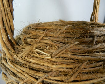 Primitive Antique Twig Basket,Vintage Vine Basket Large Gathering Woven Wicker Basket Collectors Basket Home Decor
