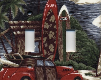 Hawaii Woody Surf Wagon With Surfboard Double Light Switch Plate