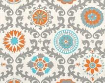 1/2 or 1 Yard Orange and Turquoise - Premier Prints Rosa Dossett Mandarin Home Decor - Fabric by the Yard