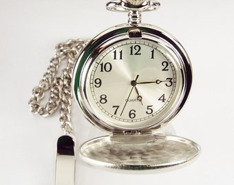 Personalized Pocket Watch Custom Engraved Silver Satin Finish Quartz Pocket Watch with Ivory Dial - Hand Engraved