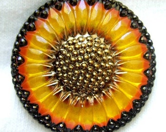 Czech Glass Sunflower Button - gold, sliver, black wash