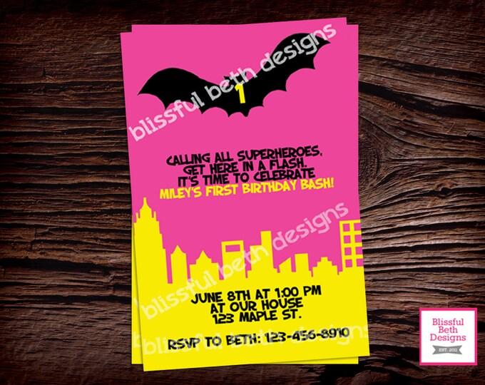 PERSONALIZED BATGIRL INVITATION Personalized Pink Batgirl Invite Birthday Printable Invitation, Batgirl Invitation, Batgirl Birthday