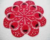 "Ladybug Lace Crochet Doily. Round 14"". Red. Black. New. Artwork Home Decor"
