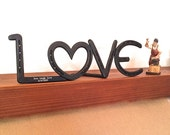 Horseshoe LOVE Sign, standing, can be engraved, western decor, 6th or 11th 2005 or 2010 anniversary gift *