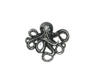 3 Octopus Pendants Set of # Antiqued Silvertone Rhinestone Embellished Discount Jewelry Supplies Set of Three