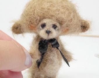 Collectible teddy bear Cygu 7,5 cm. Artist Bear OOAK