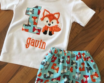 Baby boy fox birthday party outfit first birthday