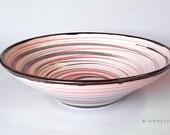 "Modern - ""Spiral Mirabilis"" Striped Bowl - Red & Black"