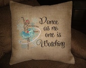 Christmas Ballerina Throw Pillow Cover Dance As No One Is Watching Pillow Cover Inspirational Throw Pillow Machine Embroidered