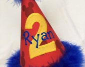 Disney Mickey Mouse birthday hat With Name in Blue, blue trim, yellow number