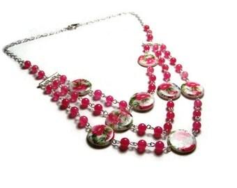 Pink Floral Mutli-Strand Necklace