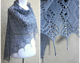 Knit shawl, knitting pattern, Morning Dew shawl with seed beads and tails scarf wrap