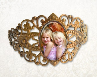 Custom Photo Antique Bronze Filigree Bracelet