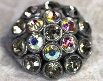 """Large Vintage Focal Rhinestone Coat Button - Crystal Clear & AB Rhinestones - Domed Sewing Button 1-3/16"""" 30mm Sparkle Bling"""