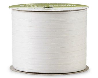 "50yds x 3/16"" White Cotton Curling Ribbon Natural Eco-Friendly (Free Shipping!)"