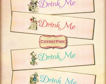 ALICE in WONDERLAND water bottle label, Alice party decoration, Drink me labels, party supplies, instant download