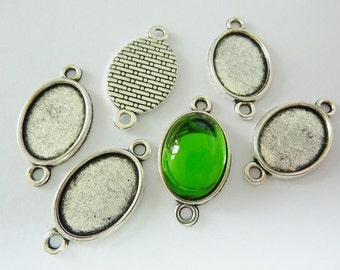 6 cabochon connector settings, 18x13mm, oval, antique silver