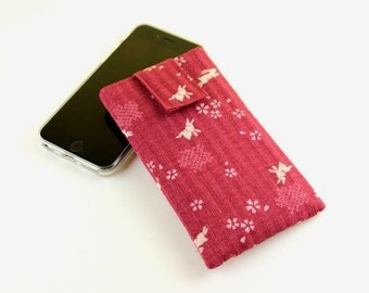 iPhone 6 sleeve, Mobile Phone Cover,fabric iPod cover,handmade iphone case,Rabbits Bunny Red