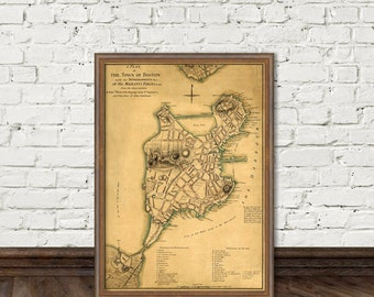Boston map - Old city map print -   Antique map of Boston fine print