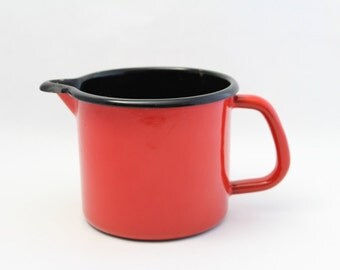 French Vintage Enamel Jug - Pitcher - Enamelware - Red