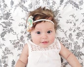 Flower Headband – Multi Color Flower – Newborn Baby Infant Toddler Child Headband - Skinny Elastic Headband - Photo Prop  - Shower Gift
