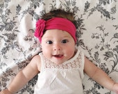 Headband - Pink Headband with Pink Flower - Infant Baby Toddler Headband - Upcycled Recycled Tshirt Headband - Stretchy - Shower Gift